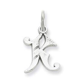 K Letter In Diamond ... initial K charms fancy letter K, with diamond cuts. measures 5/8 h